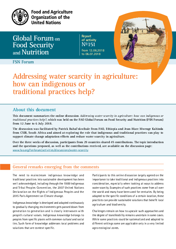PDF) Global Forum on Food Security and Nutrition FSN Forum