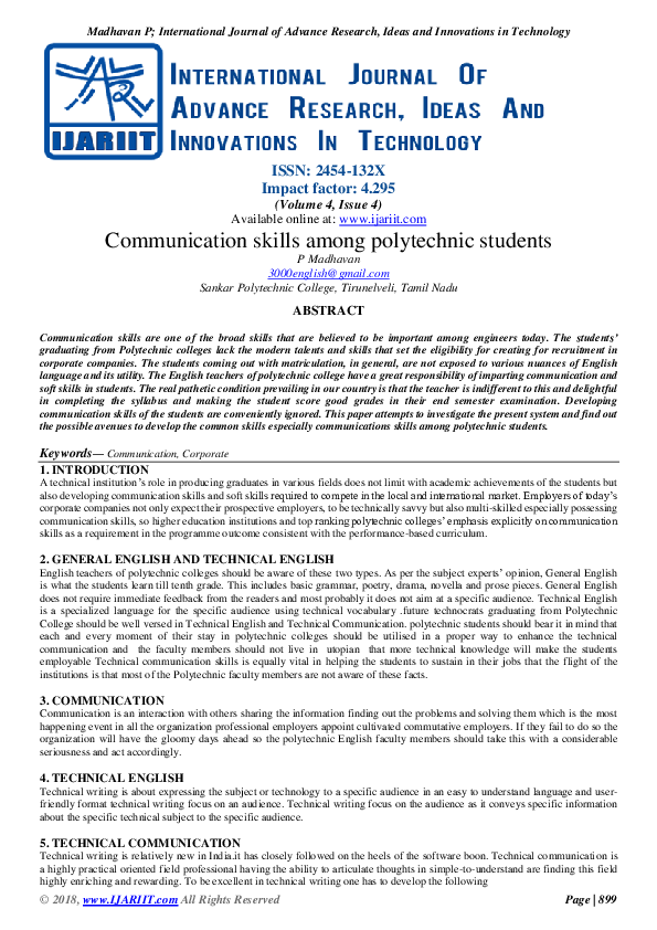 PDF) Communication skills among polytechnic students