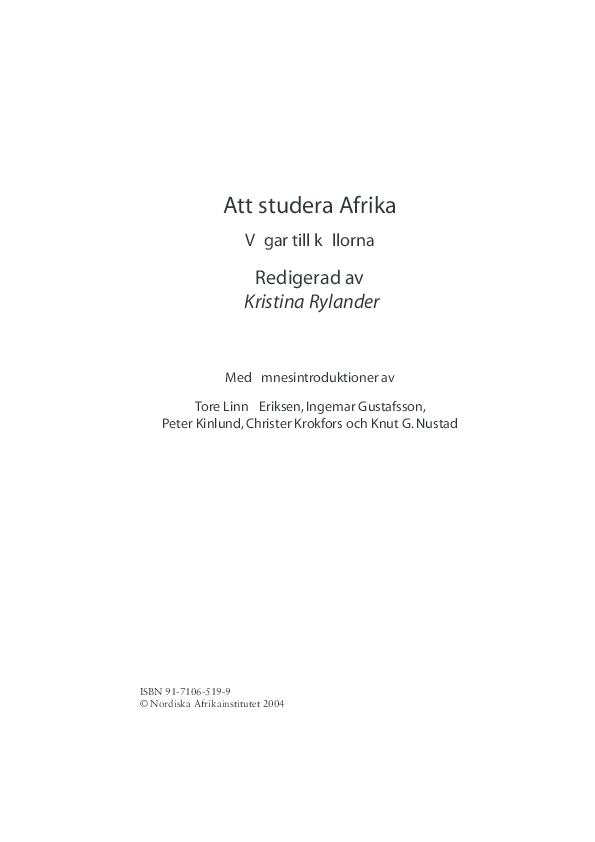 PDF) Att studera Afrika Vägar till källorna | Tore Linné