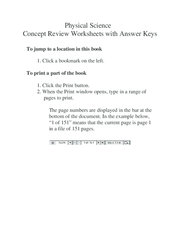 PDF) Physical Science Concept Review Worksheets with Answer Keys