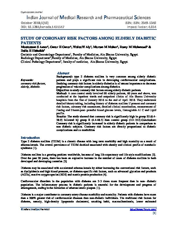 PDF) STUDY OF CORONARY RISK FACTORS AMONG ELDERLY DIABETIC PATIENTS