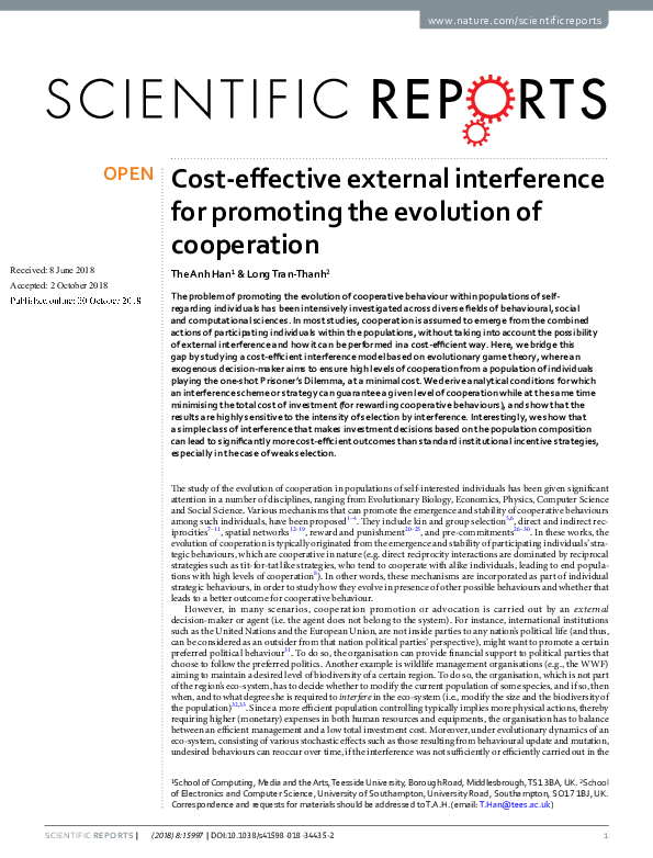 The Evolution Of Cooperation Pdf
