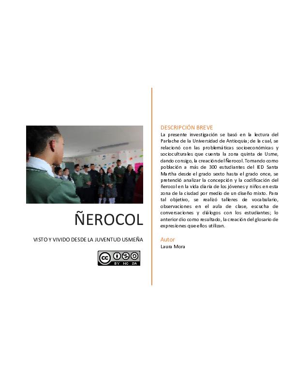 PDF) ÑEROCOL VISTO Y VIVIDO DESDE LA JUVENTUD USMEÑA | Laura