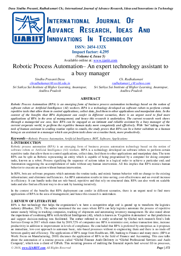 PDF) Robotic Process Automation– An expert technology assistant to a