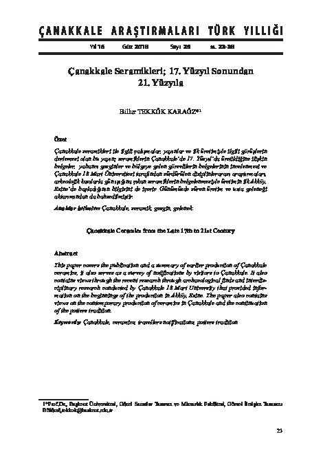 Pdf çanakkale Seramikleri 17 Yüzyıl Sonundan 21 Yüzyıla Billur
