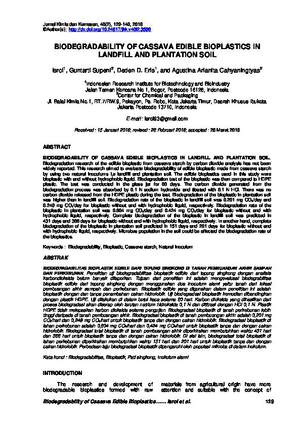 PDF) BIODEGRADABILITY OF CASSAVA EDIBLE BIOPLASTICS IN