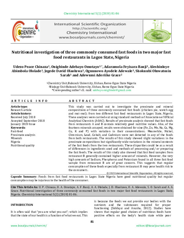 PDF) Nutritional investigation of three commonly consumed