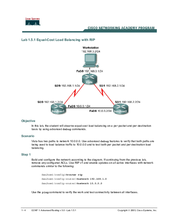 PDF) Lab 1 5 1 Equal-Cost Load Balancing with RIP | Kiran