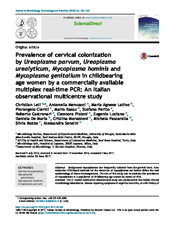 PDF) Prevalence of cervical colonization by Ureaplasma