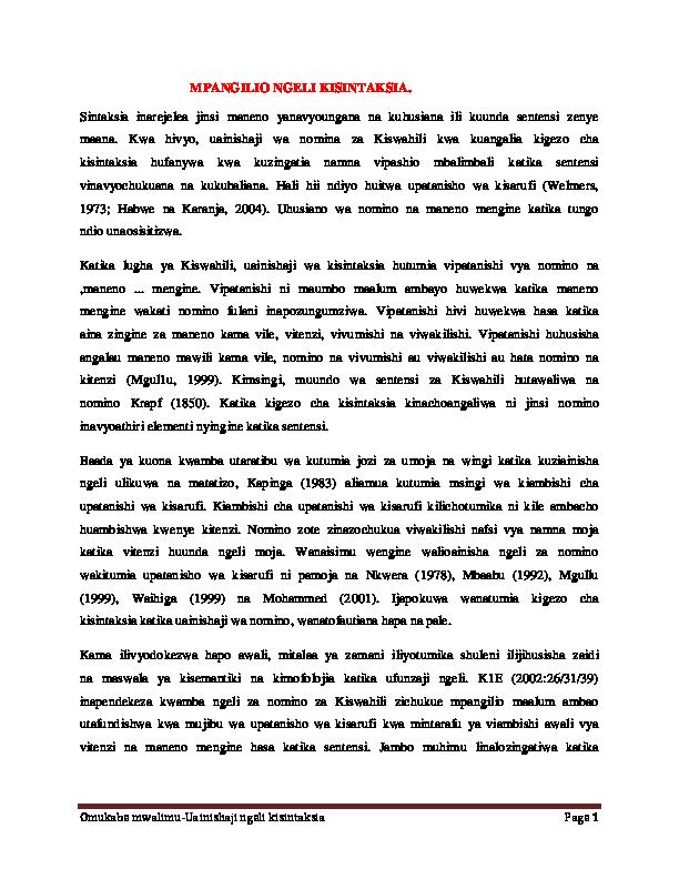 (PDF) Omukabe mwalimu-Uainishaji ngeli kisintaksia