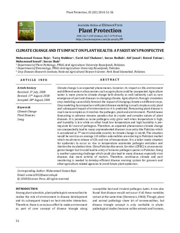 PDF) Climate change and its impact on plant health: a
