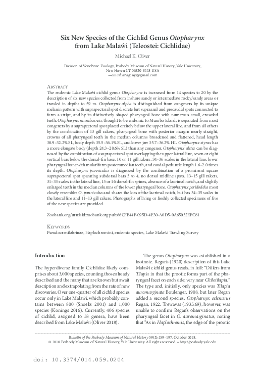 PDF) Six New Species of the Cichlid Genus Otopharynx from