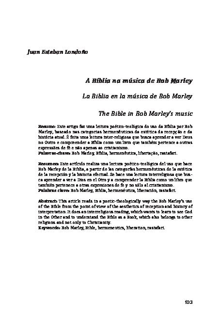 Pdf La Biblia En La Musica De Bob Marley Juan E S T E B A N Londoño Academia Edu