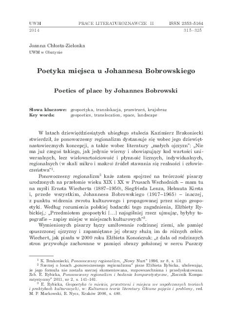 Pdf Poetyka Miejsca U Johannesa Bobrowskiego Poetics Of