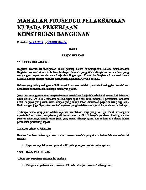 Doc Makalah Prosedur Pelaksanaan K3 Pada Pekerjaan Konstruksi Vinsensius Ota Academia Edu