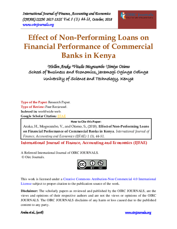 PDF) Effect of Non-Performing Loans on Financial Performance
