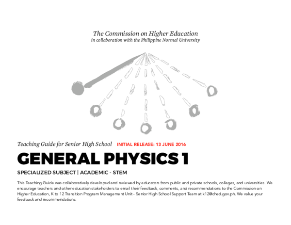 PDF) Teaching Guide for Senior High School GENERAL PHYSICS 1