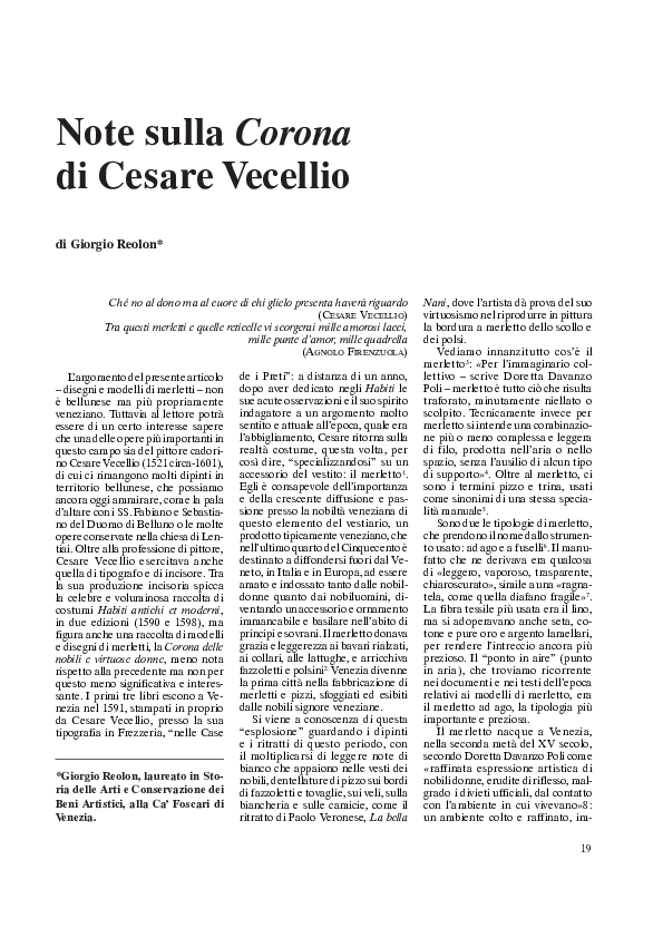 Note sulla Corona di Cesare Vecellio 092e60ce0ced