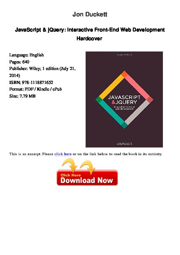 PDF) Jon Duckett JavaScript & jQuery: Interactive Front-End Web