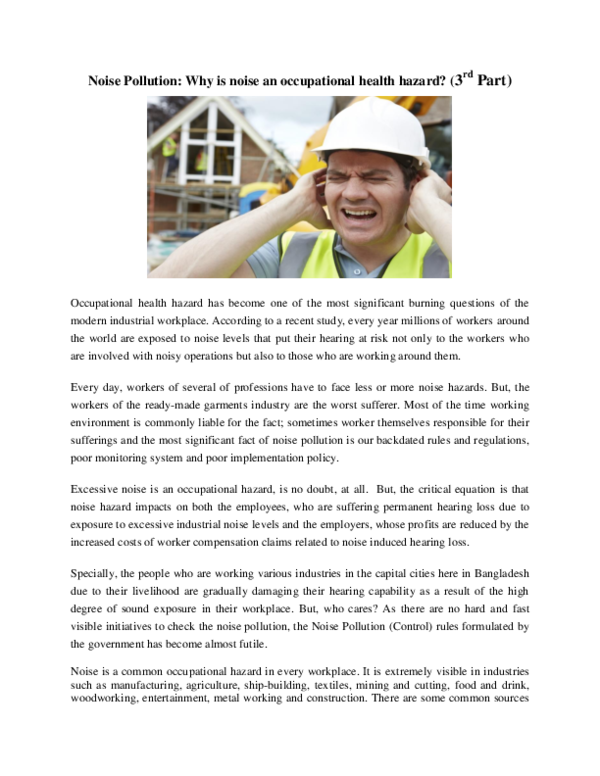 PDF) Noise Pollution: Why is noise an occupational health