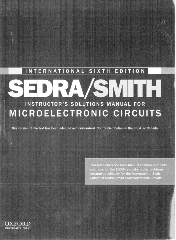 PDF) Solution Manual of Microelectronic Circuits (6th