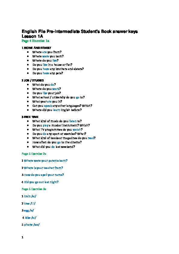 Pdf English File Pre Intermediate Student S Book Answer Keys Lesson 1a Ba Ma Academia Edu