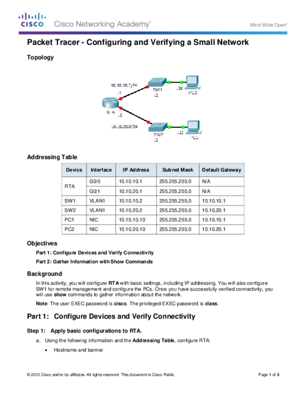 PDF) Packet Tracer -Configuring and Verifying a Small Network
