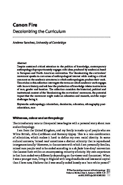 PDF) 2018  Canon Fire: Decolonising the Curriculum  Cambridge