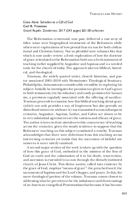 PDF) Carl Trueman, Grace Alone (Grand Rapids: Zondervan