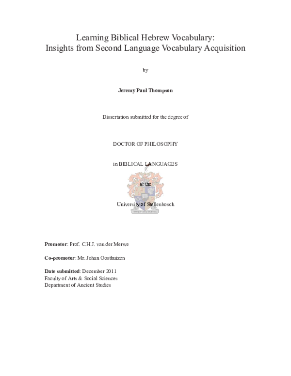 PDF) Learning Biblical Hebrew Vocabulary: Insights from Second