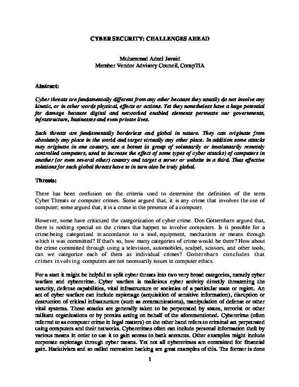 PDF) Cyber Security: Challenges Ahead   Adeel Javaid - Academia edu