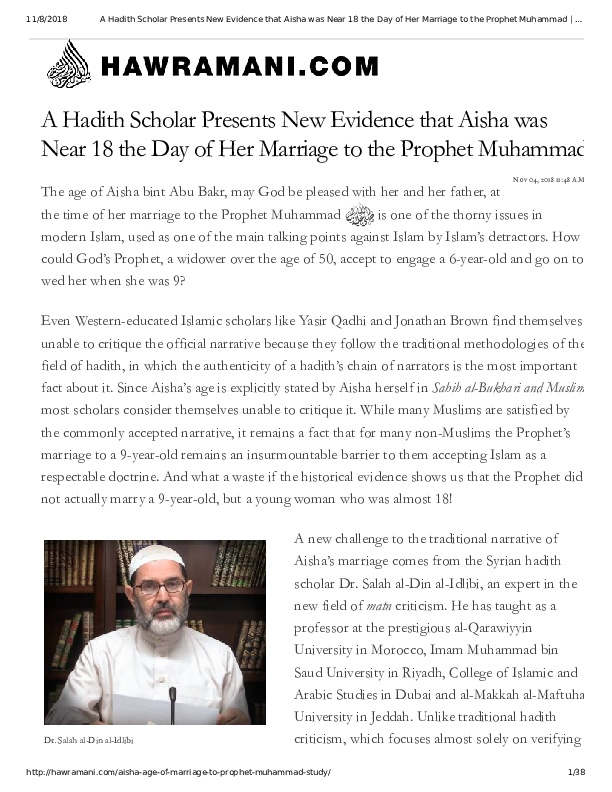PDF) A Hadith Scholar Presents New Evidence that Aisha was