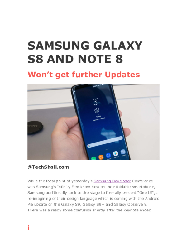 DOC) Samsung Galaxy S8 and Note 8 Won't get further Updates