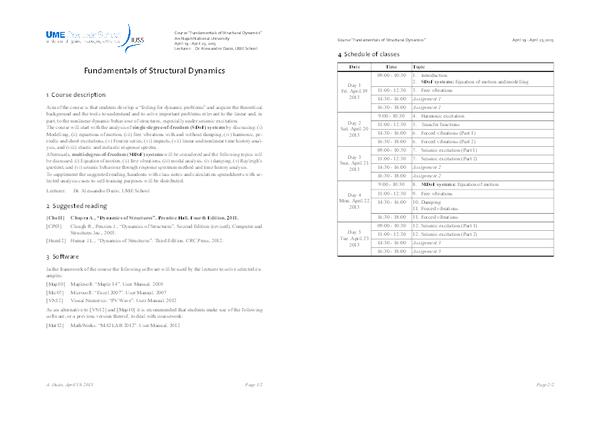 Fundamentals of Structural Dynamics - IUSS School