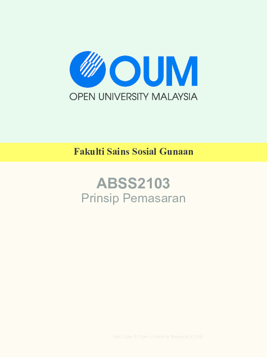Pdf Abss2103 Prinsip Pemasaran Hanan Ismail Academia Edu