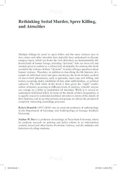 PDF) Rethinking Serial Murder, Spree Killing, and Atrocities