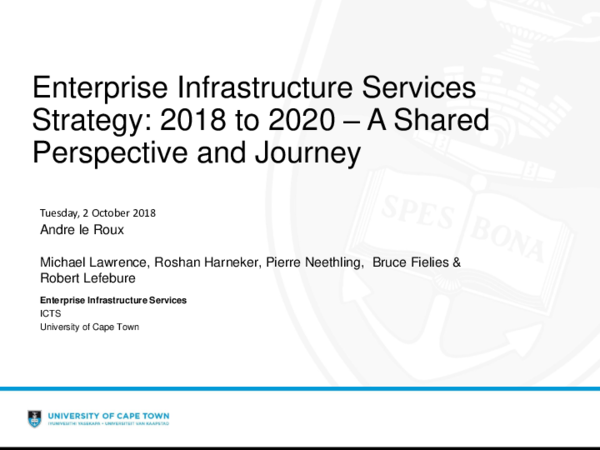 PDF) Enterprise Infrastructure Services Strategy: 2018 to