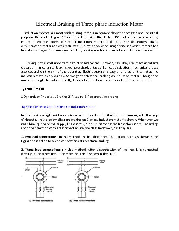 PDF) Electrical Braking of Three phase Induction Motor