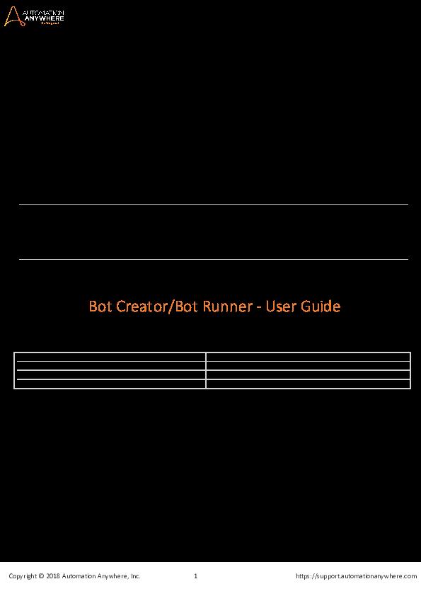 PDF) AUTOMATION ANYWHERE ENTERPRISE 11 LTS Bot Creator/Bot Runner