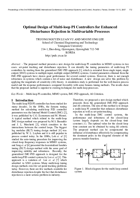 PDF) Optimal Design of Multiloop PI Controllers for Enhanced