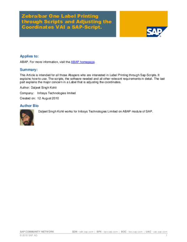 PDF) SAP COMMUNITY NETWORK Zebra/bar One Label Printing