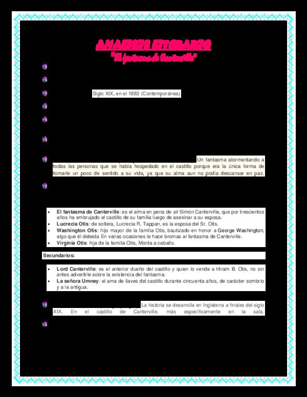 Doc Analisis Literario El Fantasma De Canterville