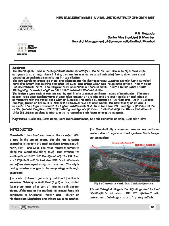 PDF) NEW SARAIGHAT BRIDGE‐ A VITAL LINK TO GATEWAY OF NORTH