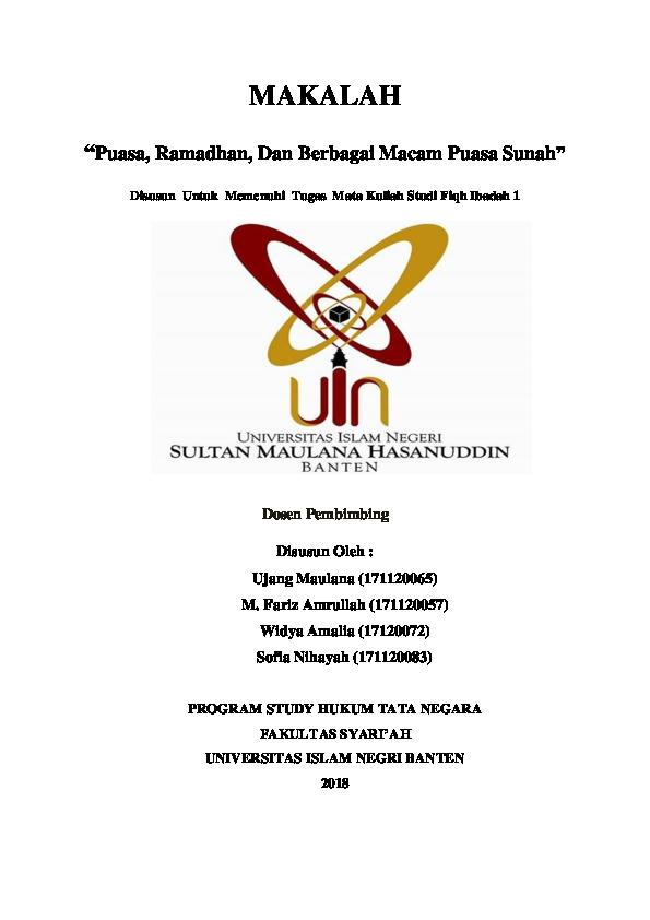 Doc Makalah Puasa Ramadhan Dan Berbagai Macam Puasa Sunah Abiii Ganteng Academia Edu
