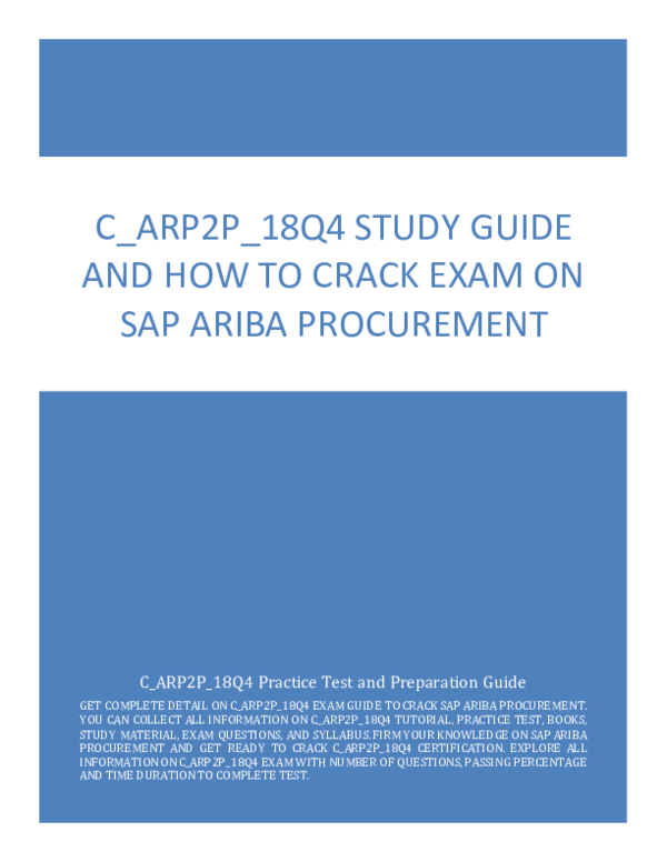 PDF) C_ARP2P_18Q4 Study Guide and How to Crack Exam on SAP