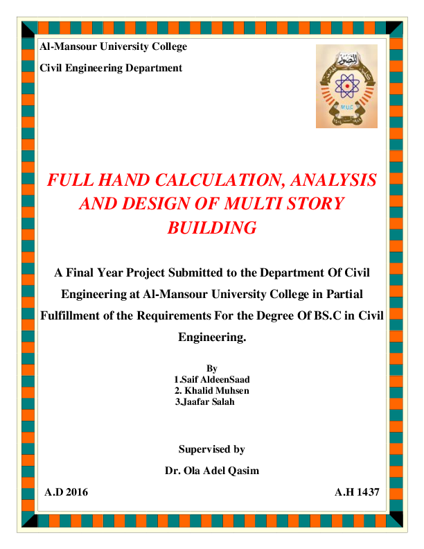 PDF) FULL HAND CALCULATION, ANALYSIS AND DESIGN OF MULTI