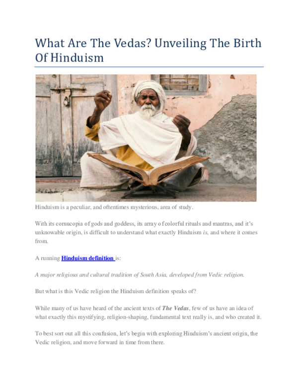 PDF) What Are The Vedas? Unveiling The Birth Of Hinduism   the vedas