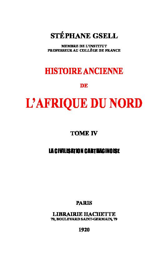 Pdf Stéphane Gsell Histoire Ancienne Lafrique Du Nord Tome