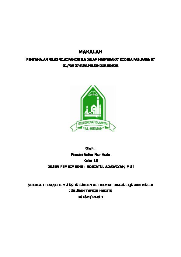Pdf Makalah Pengamalan Nilai Nilai Pancasila Dalam Masyarakat Di Desa Pabuaran Rt Fauzan A Huda Academia Edu