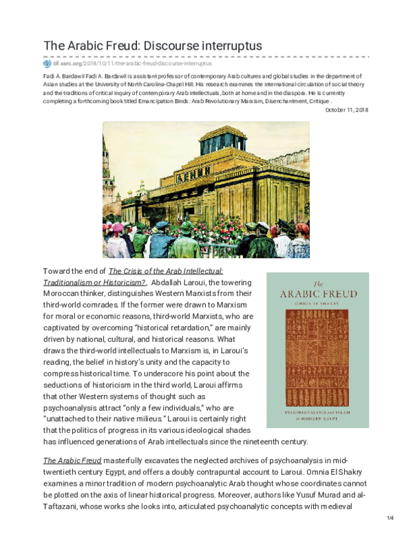 PDF) The Arabic Freud: Discourse Interruptus | Fadi A Bardawil